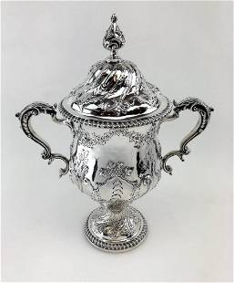 Victorian Silver Antique Trophy Cup & Cover London 1890