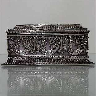 Antique Silver French Jewellery Casket Circa 1880