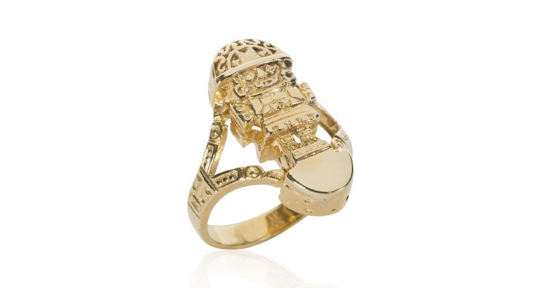 18K Gold Incan God Ring
