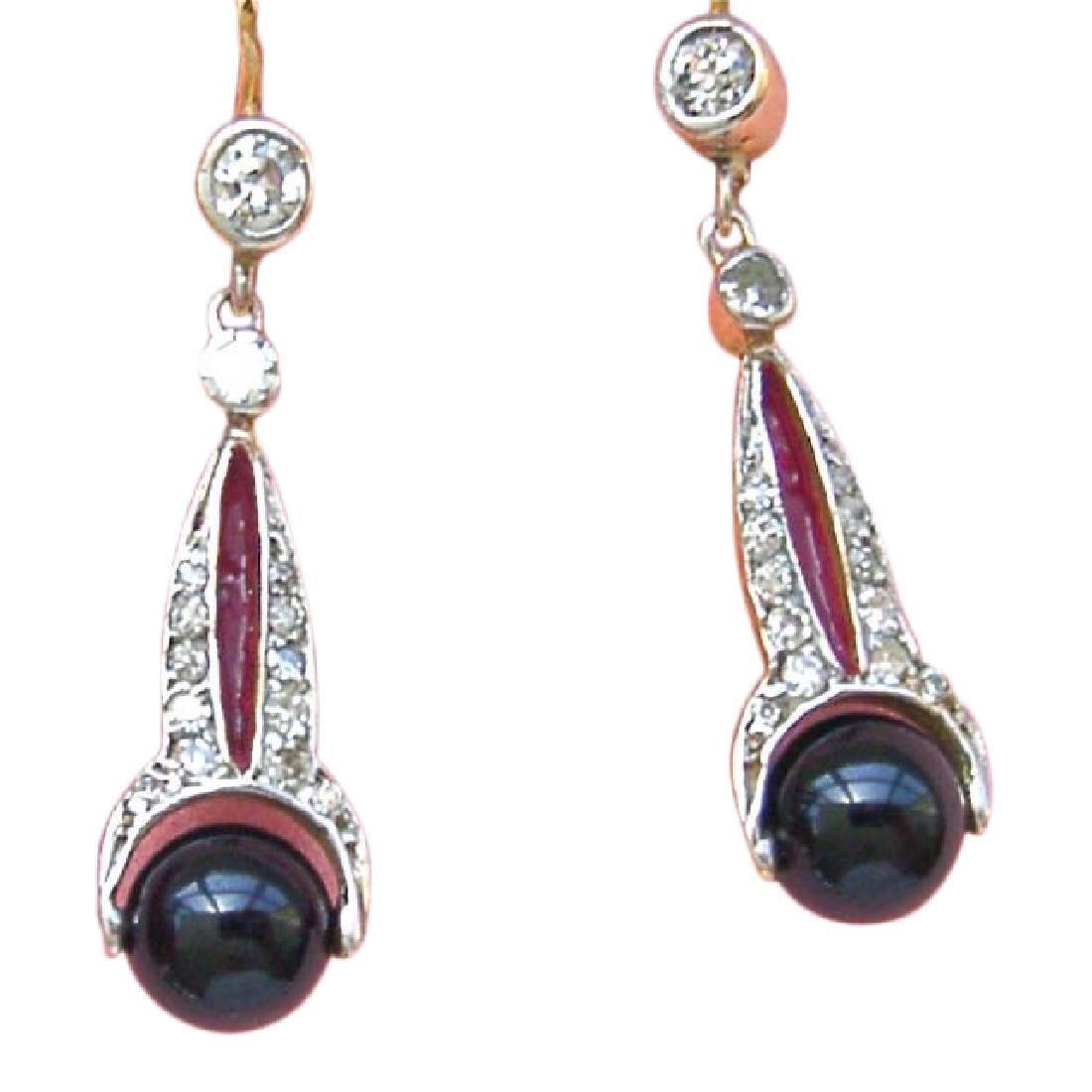 Art Deco 18K Diamond Onyx Spinning Balls Earrings