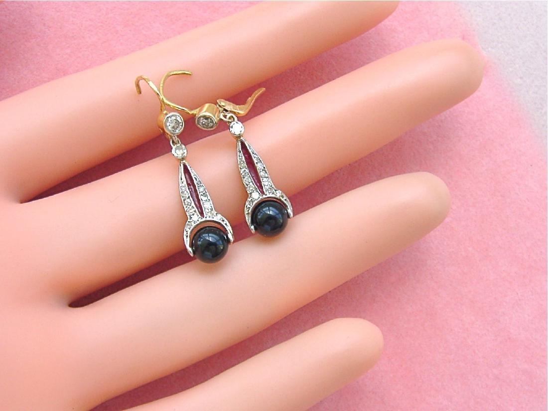 Art Deco 18K Diamond Onyx Spinning Balls Earrings - 2