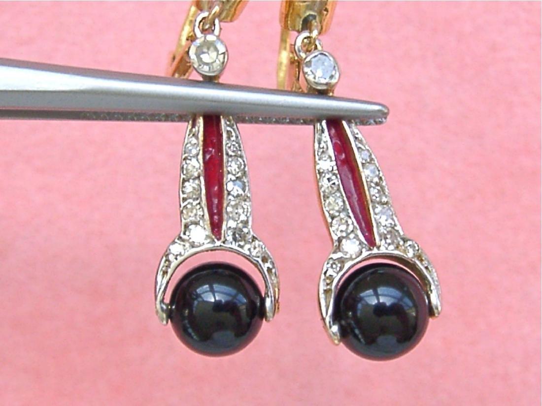 Art Deco 18K Diamond Onyx Spinning Balls Earrings - 3