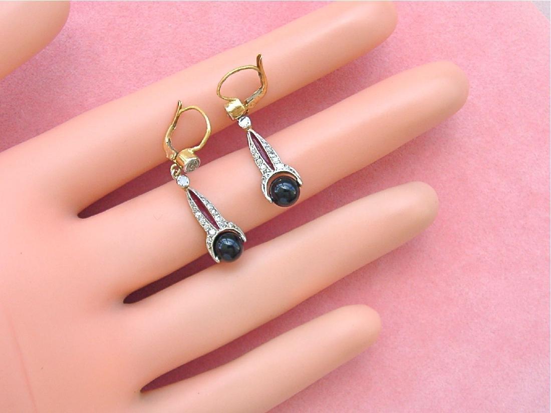 Art Deco 18K Diamond Onyx Spinning Balls Earrings - 4