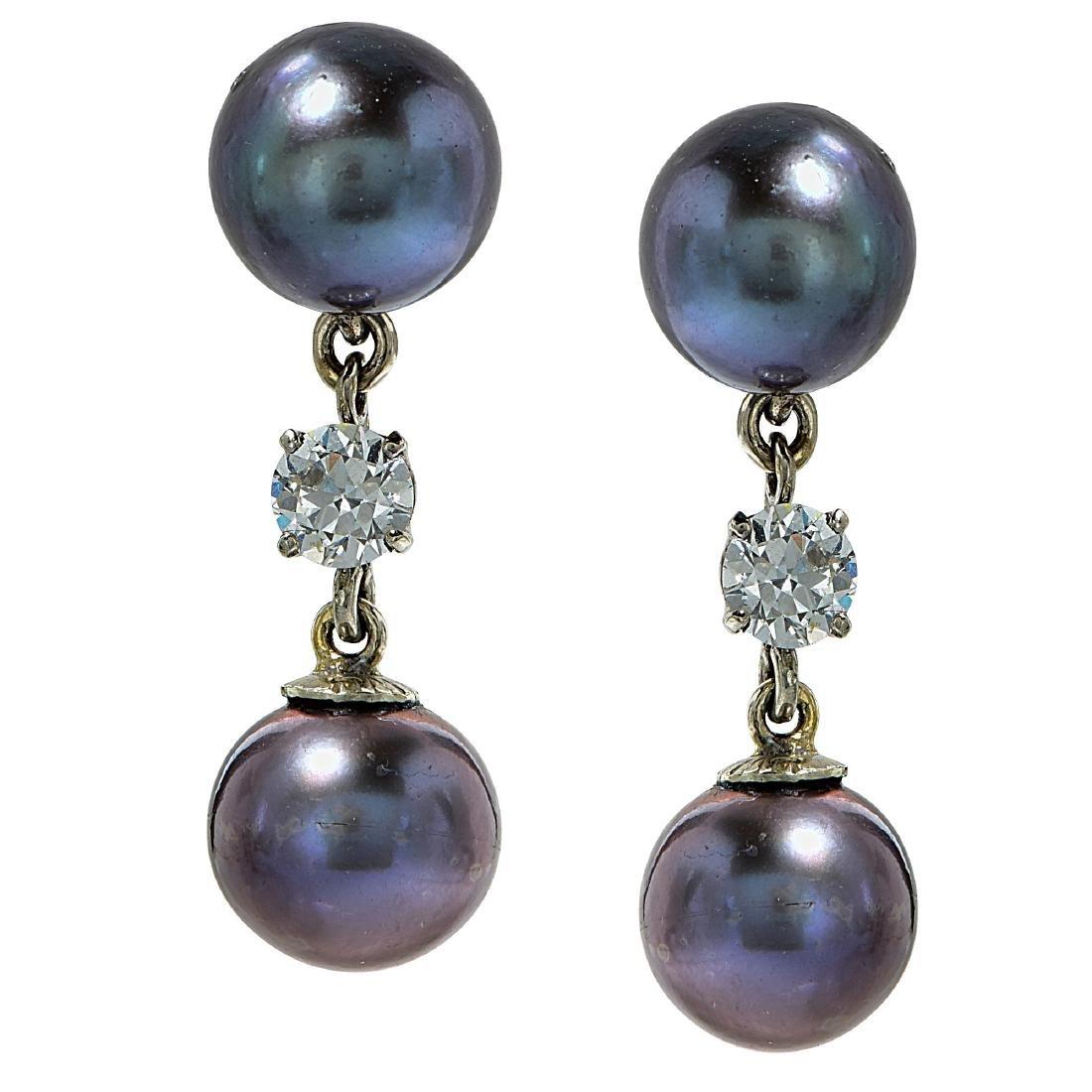 18K Gold Tahitian Pearl Diamond Earrings