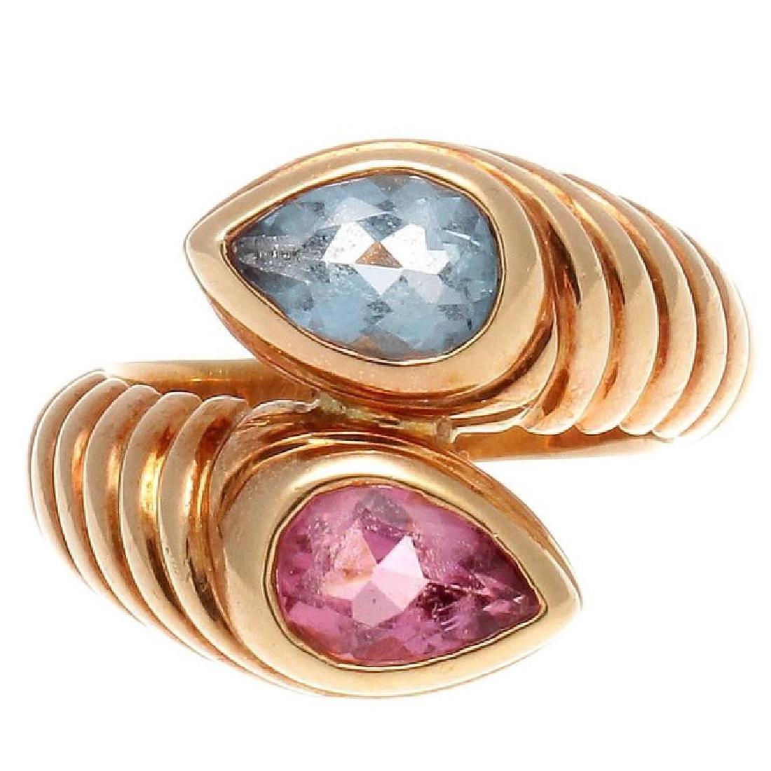 Bulgari 18K Gold TopazTourmaline Snake Ring