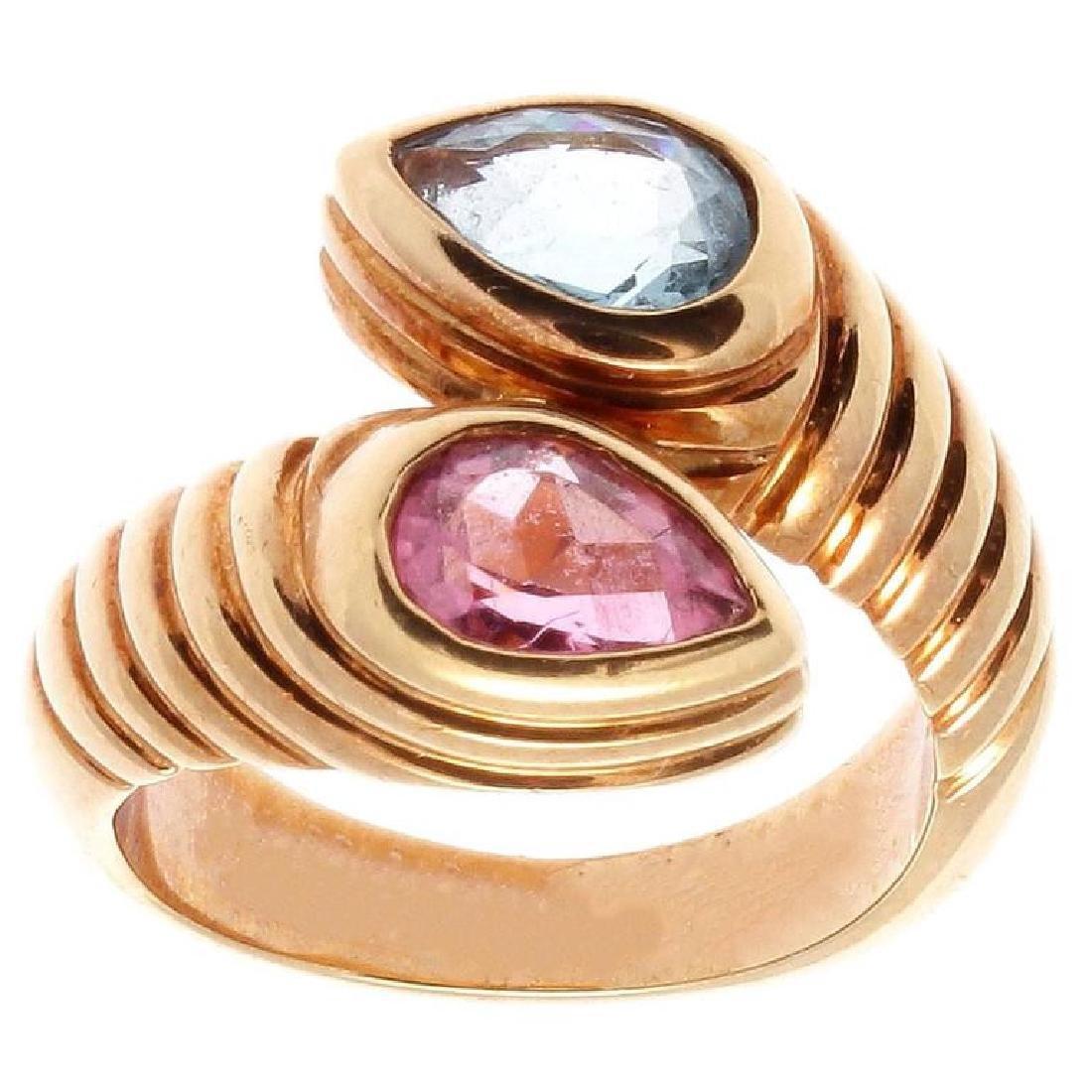 Bulgari 18K Gold TopazTourmaline Snake Ring - 2
