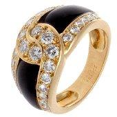 Van Cleef & Arpels 18K Gold Onyx Diamond Ring