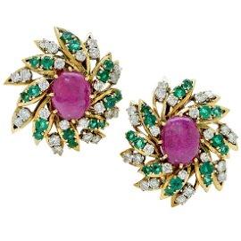 Webb 18K Gold Ruby Diamond Emerald Earrings