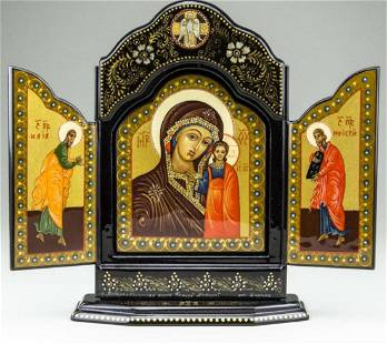 Kazanskaya Mother of God Russian Lacquer Icon Triptych