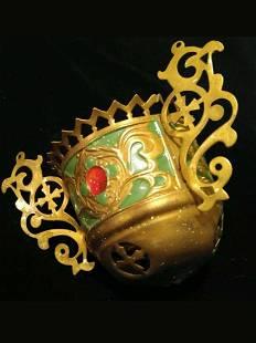 Antique Russian Brass Lampada, 19th C