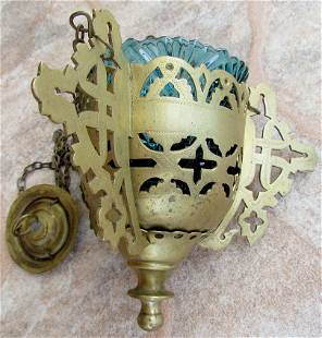 Russian Brass Icon Lamp With Glass Insert, 19th C