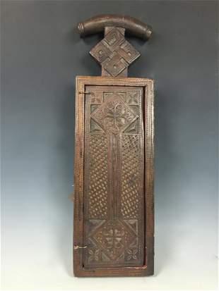 Vintage Ethiopian Coptic Orthodox Wood Icon Triptych