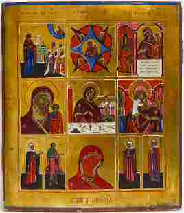 Nine Part Mother of God Russian Icon, 19th C