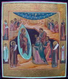 Birth of Christ Russian Icon, 19th C