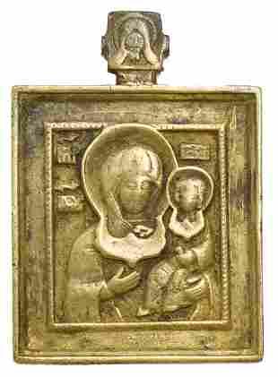 Smolenskaya Mother of God Russian Bronze Icon, 19th C