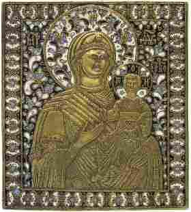 Smolenskaya Bronze Enamel Russian Icon, 19th C