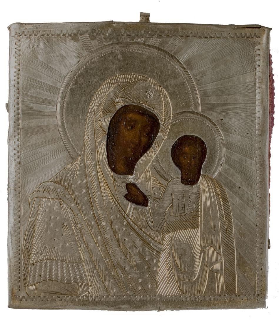 Kazanskaya Mother of God Oklad Russian Icon, 1866