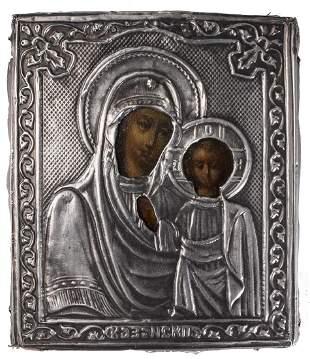 Kazanskaya Mother of God Oklad Russian Icon, 1865
