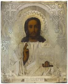 Zaharov: Christ Pantocrator Oklad Russian Icon, 1880