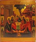 Old Testament Trinity Russian Gold Leaf Icon, 18th C