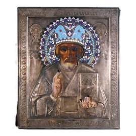 St. Nikolai Riza Russian Icon, 19th C