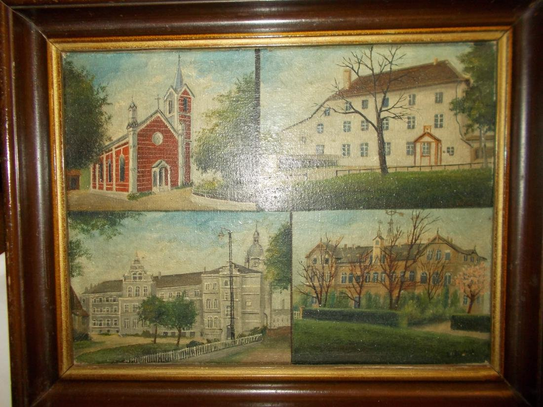 Painting Of 4 Houses