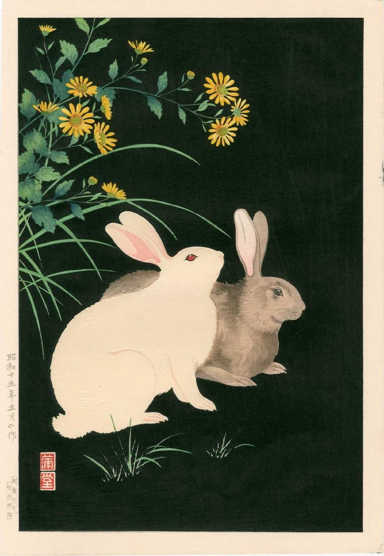 Hodo Nishimura: Two Rabbits at Night