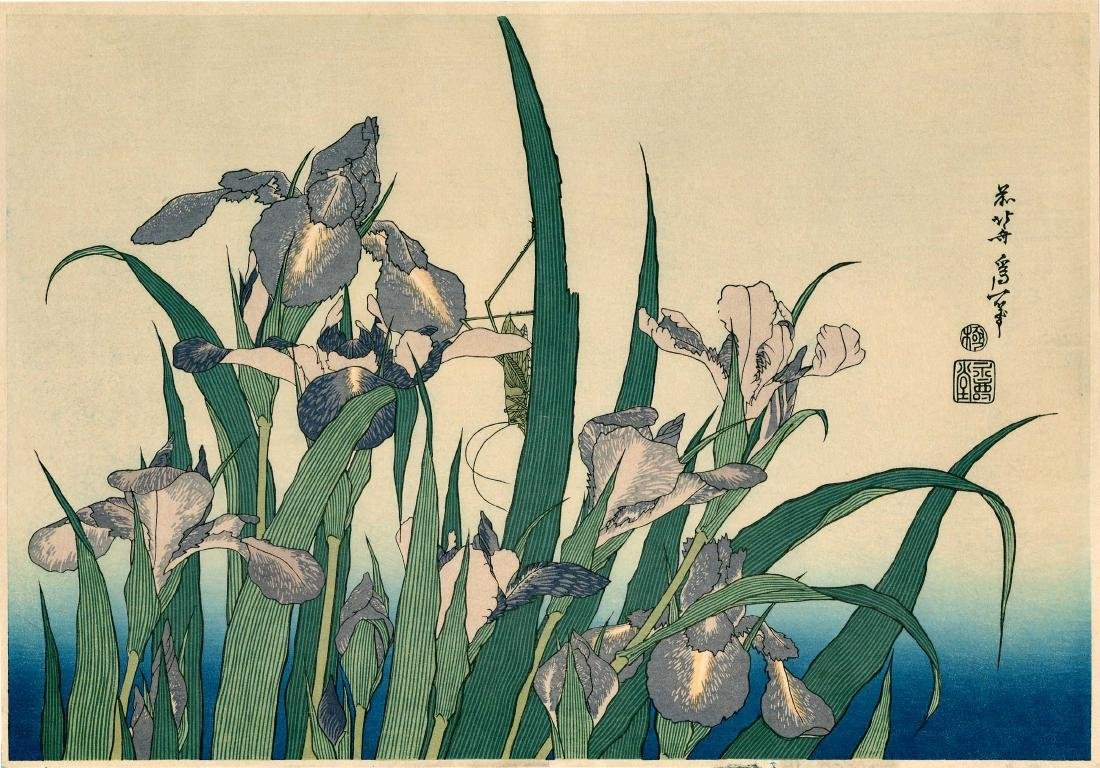 Katsushika Hokusai: Grasshopper and Iris