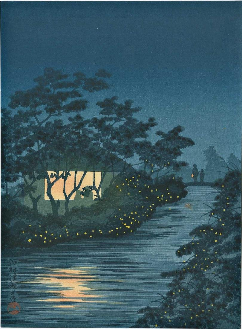 Kiyochika Kobayashi: Fireflies by a Country Stream