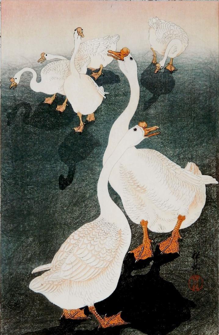 Ohara Koson: 6 Geese & Their Shadows