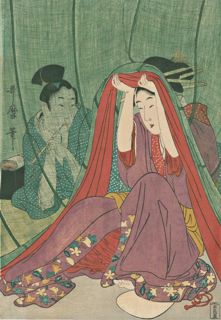 Utamaro Kitagawa: A Couple Under a Mosquito Net