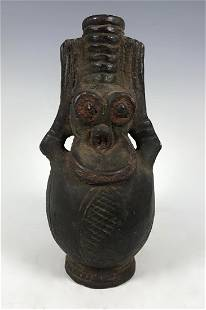 African Pottery Bamileke Monkey Jar from Cameroon