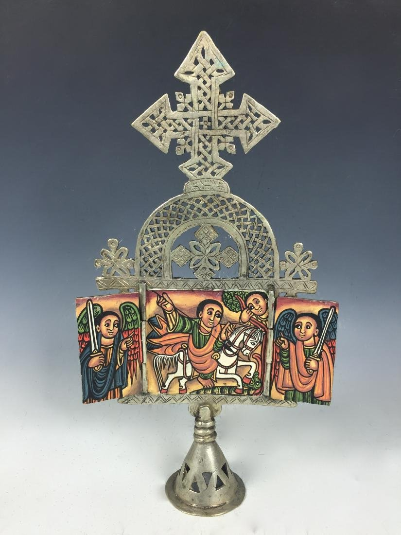 Ethiopian Coptic Processional Cross with Painted Icon