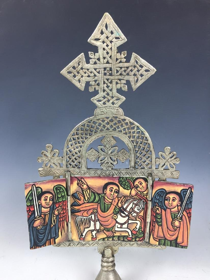 Ethiopian Coptic Processional Cross with Painted Icon - 2
