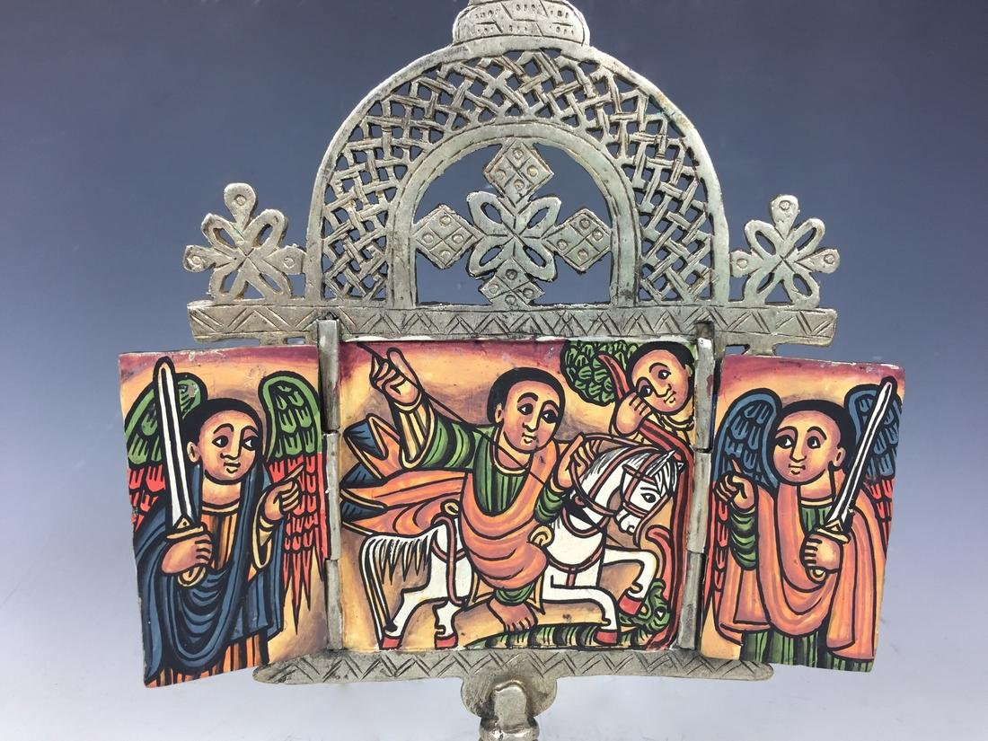 Ethiopian Coptic Processional Cross with Painted Icon - 3
