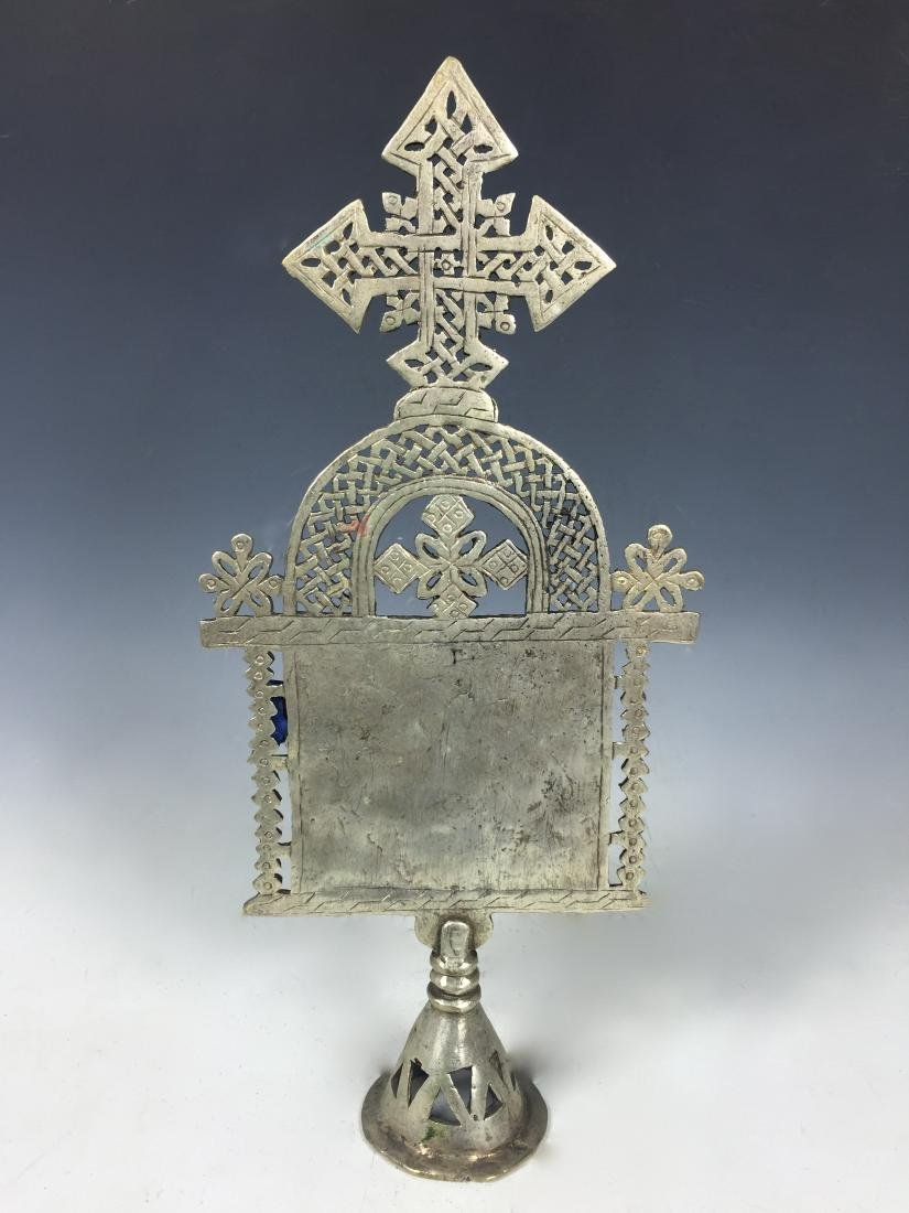 Ethiopian Coptic Processional Cross with Painted Icon - 4