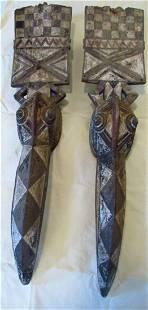 Pair of Bobo Burkina Faso Wood Bird Masks