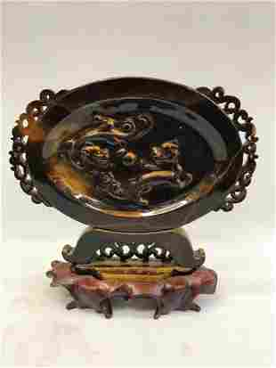 Chinese Qing Dynasty Hand Carved Tiger Eye Stone Plaque