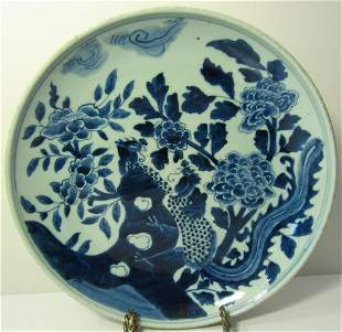 Chinese Blue & White Phoenix Birds Plate, 19th C