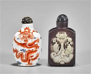 Two Chinese Dragon Snuff Bottles: Porcelain & Stone