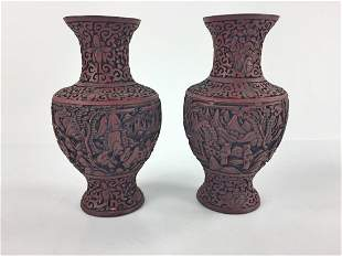 Pair of Chinese Carved Red Lacquer Vases
