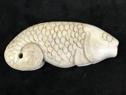 Chinese Qing Dynasty Hand Carved Jade Fish