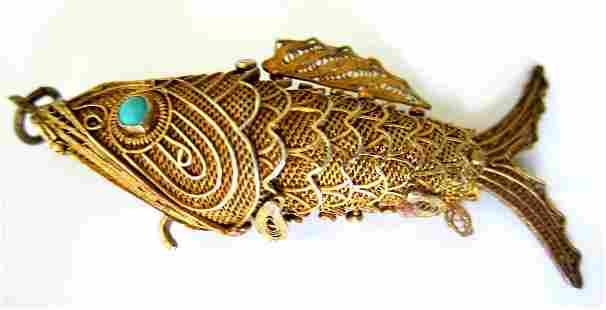 Antique Chinese Gold Turquoise Vermeil Koi Fish Pendant
