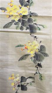 Old Chinese Painting of Bird and Flowers