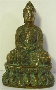Chinese Tibetian Brass Gilt Buddha Figure