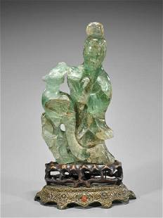Antique Chinese Carved Fluorite Guanyin
