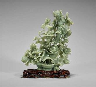 Chinese Carved Celadon Jade Beauty