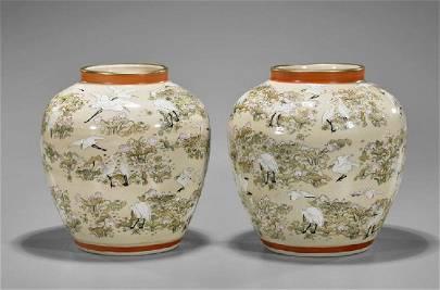 Pair of Old Japanese Satsuma Jars