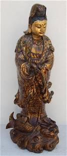 Bronze Gold Leaf Quan Yin Figure