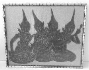 Vintage Framed Thai Temple Charcoal Print on Rice Paper